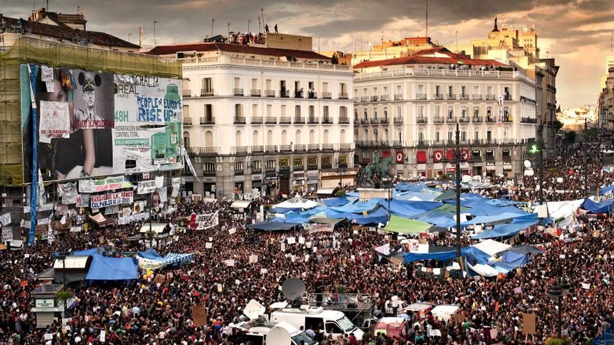 Vista general de la Puerta del Sol durante las protestas del 15M