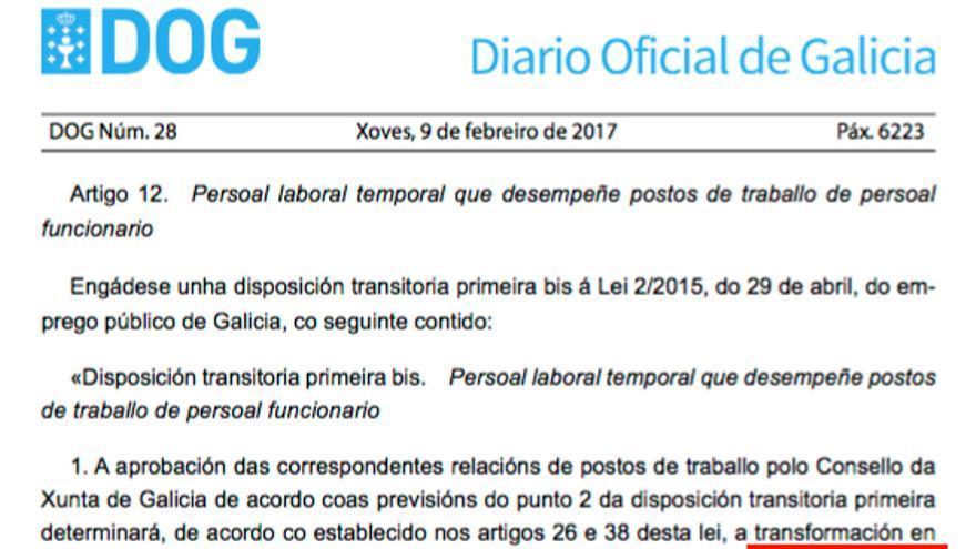 Ley de acompañamiento de los presupuestos gallegos que prevé transformar a los temporales en interinos con un nuevo nombramiento