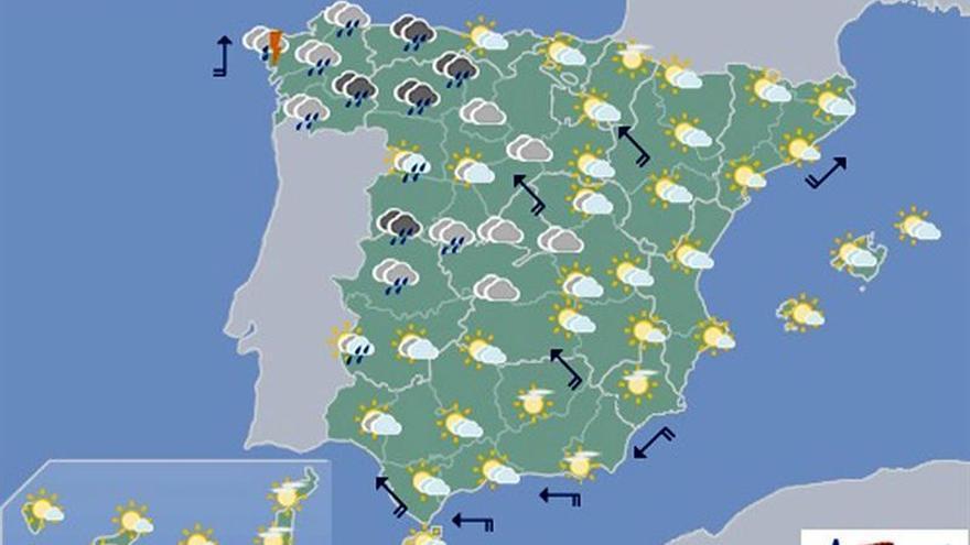 Mañana, cielo nuboso y precipitaciones en el oeste de Galicia y la península