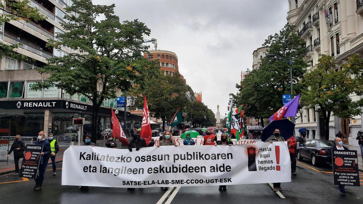 Manifestación de los sindicatos de Osakidetza en octubre