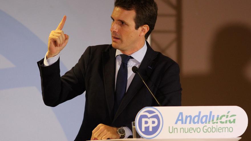 El lider del PP, Pablo Casado, en un acto en Andalucía