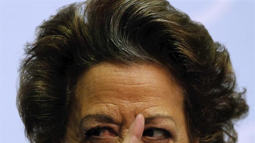 Rita Barberá en la rueda de prensa en la que se negó a dimitir.
