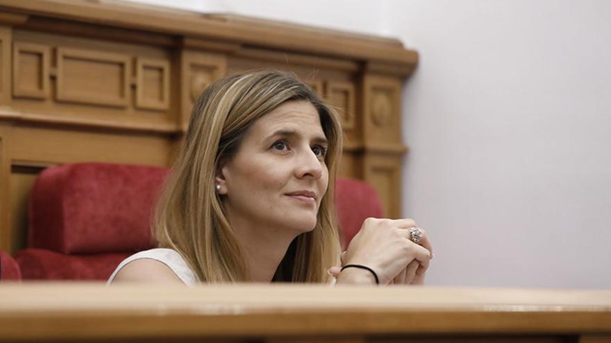 Carolina Agudo, secretaria general del PP Castilla-La Mancha, durante la intervención del presidente de Partido en el Debate de Investidura de García-Page