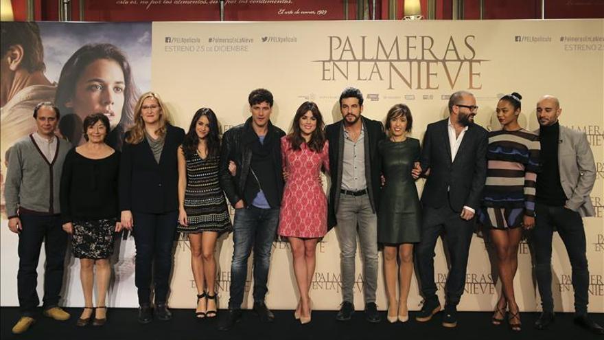 """""""Palmeras en la nieve"""" recauda 3 millones de euros en su primer fin de semana"""