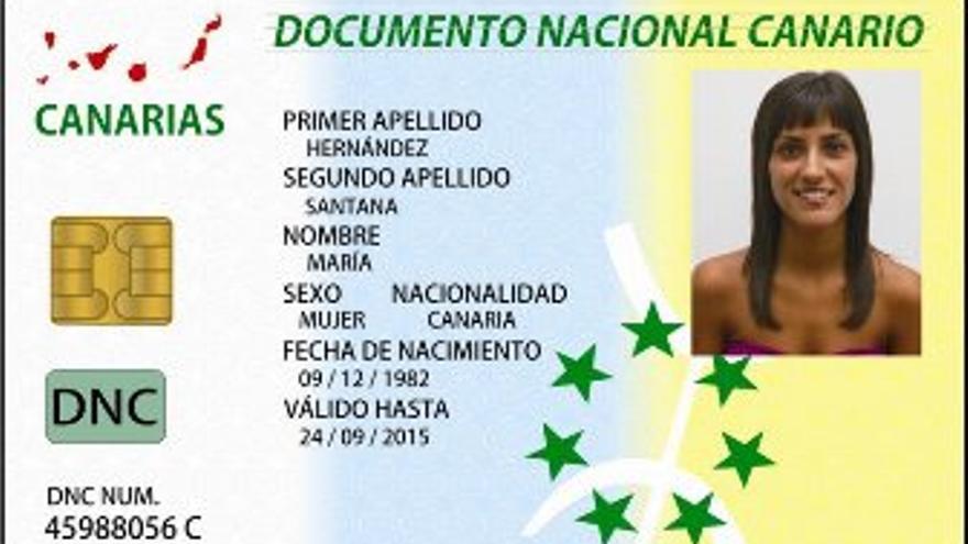 Ejemplo de Documento Nacional Canario.