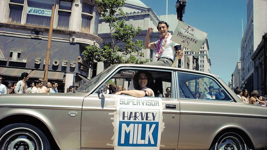 Harvey Milk, como nuevo supervisor electo, en el desfile del Orgullo, Junio 1978 / Fotografía cedida por Dan Nicoletta