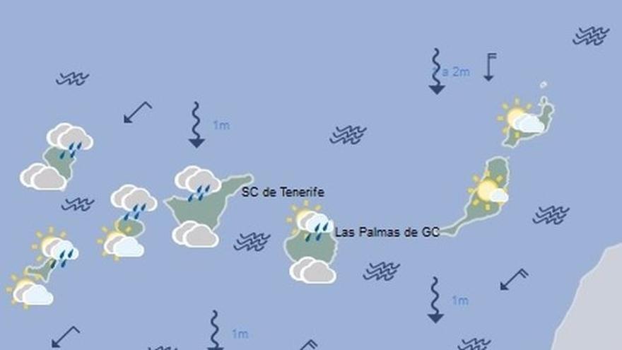 Mapa con la previsión meteorológica para este lunes, 11 de septiembre de 2017