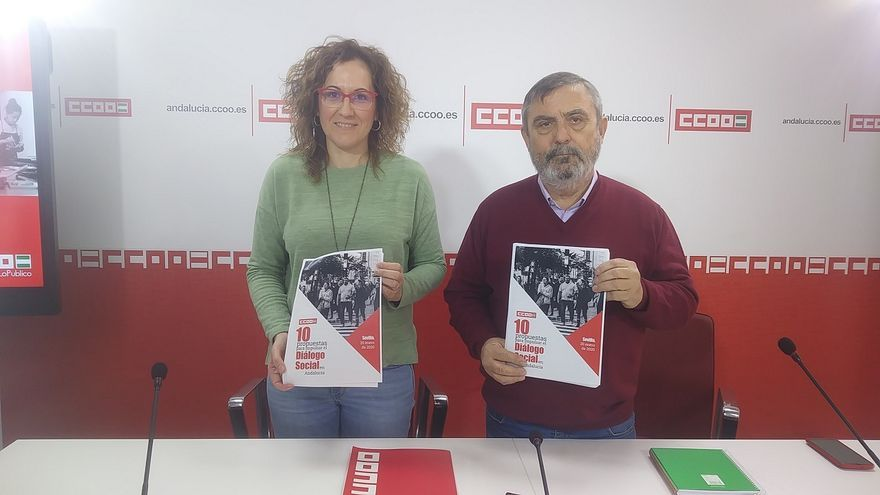 Nuria López y Alfonso Vidán, este lunes antes de iniciar la rueda de prensa en la nueva sede de CCOO-A