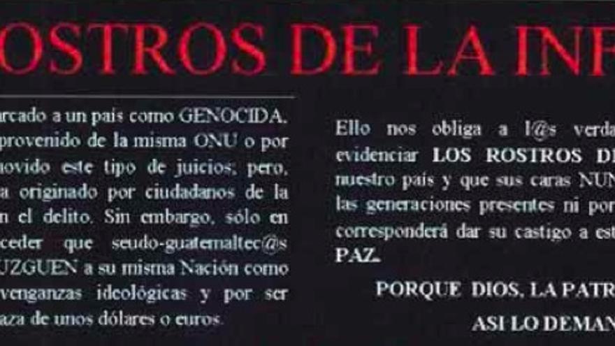 """Encabezado del documento """"Rostros de la Infamia"""", que estigmatiza y critica a impulsores del juicio contra Ríos Montt, como Rigoberta Menchú"""