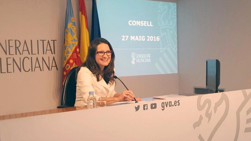 La consellera de Igualdad y Políticas Inclusivas, Mónica Oltra, en rueda de prensa