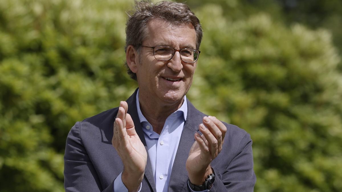 El presidente de la Xunta y líder del PPdeG, Alberto Núñez Feijóo, clausura la junta directiva del partido este martes en Santiago de Compostela.