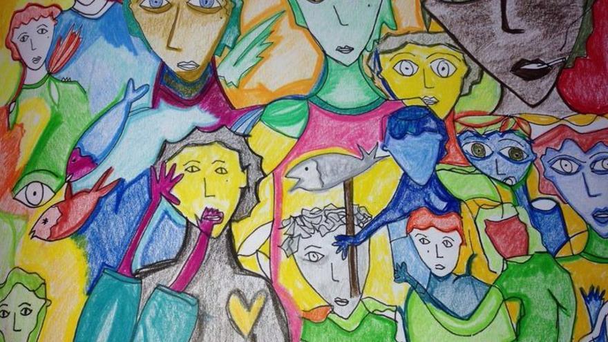 Ilustración de Fátima Masoud en el 'Salón de los rechazados españoles' en Londres.