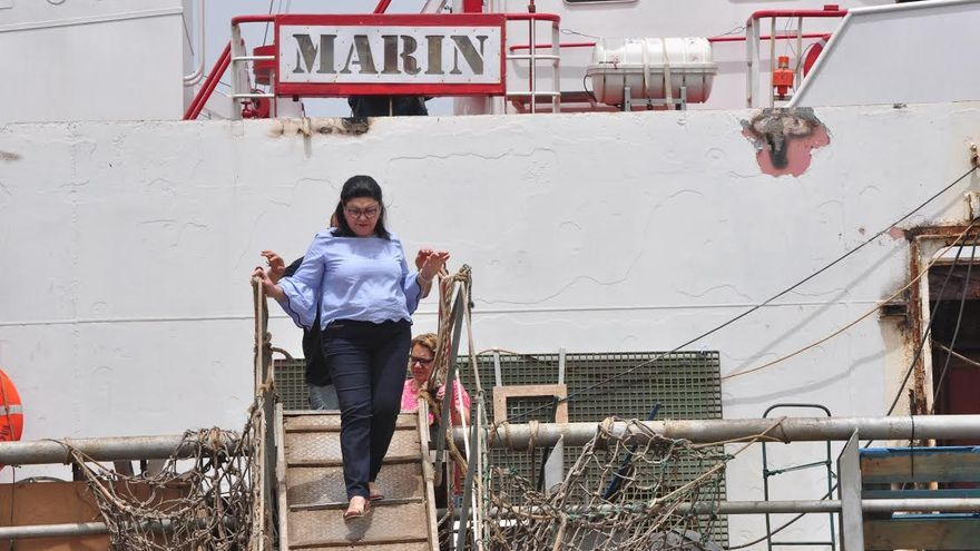 Carmen Valido, en el buque 'Marin'.