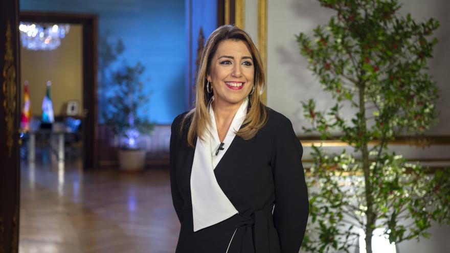 Susana Díaz durante la grabación de su mensaje de Fin de Año /Foto: Junta de Andalucía