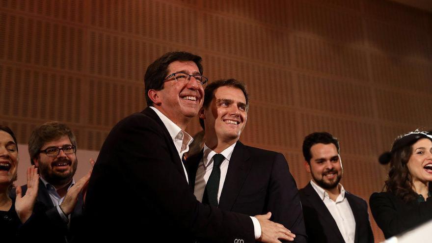 Juan Marín y Albert Rivera celebran los 21 escaños en el Parlamento de Andalucía