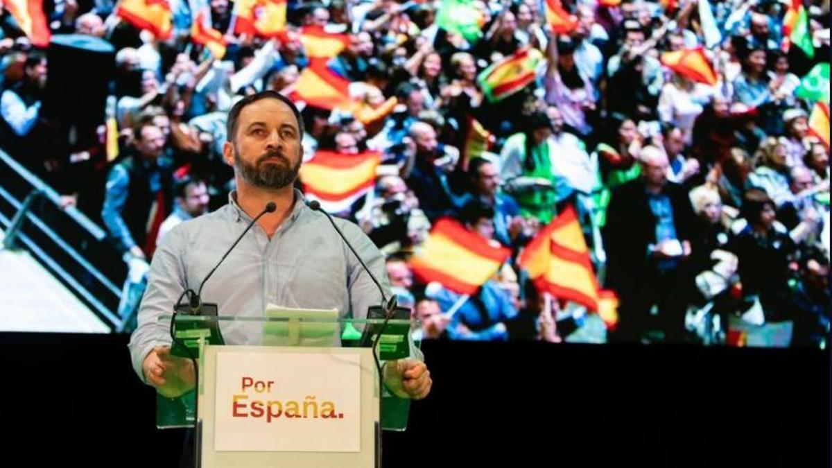 Santiago Abascal en un mitin de Vox en Valencia.