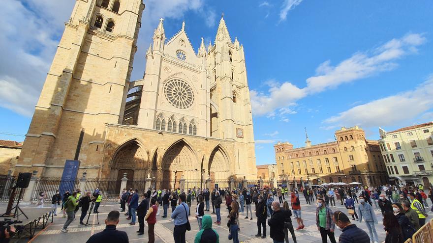 La manifestación de León en Castilla y León convocada por los empresarios.