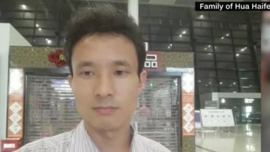 Captura de pantalla de un reportaje de la CNN en la que aparece Hua Haifeng, uno de los activistas detenidos