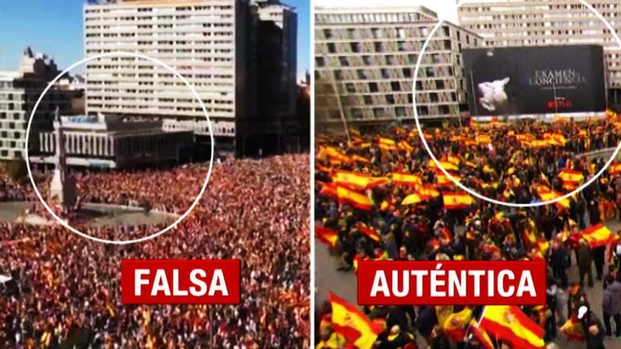 La imagen falsa y la auténtica de la manifestación del domingo