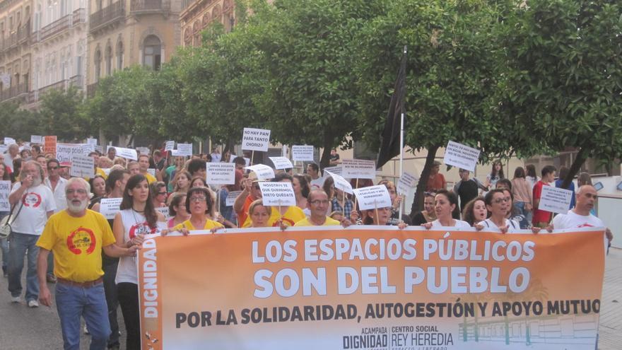 Manifestación del primer aniversario del centro social Rey Heredia.