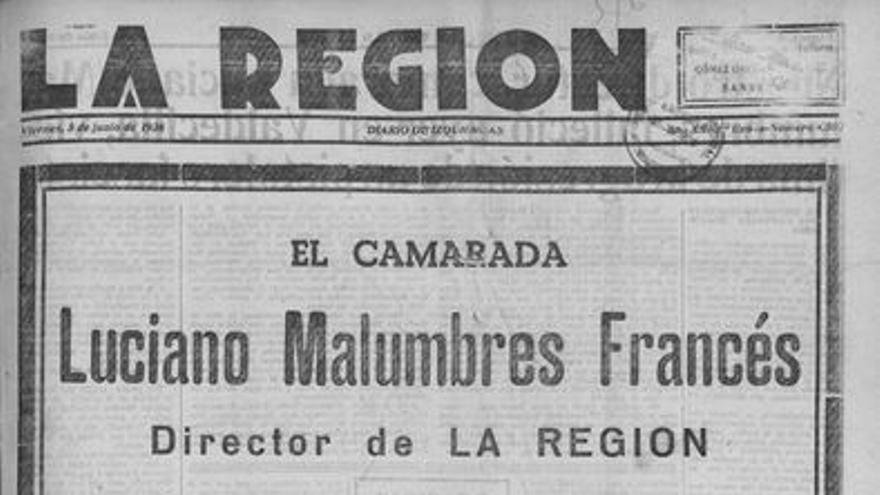 Portada de La Región anunciando la muerte de su director, Luciano Malumbres.