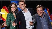 Pablo Casado, Isabel Díaz Ayuso y José Luis Martínez-Almeida celebran los resultados electorales