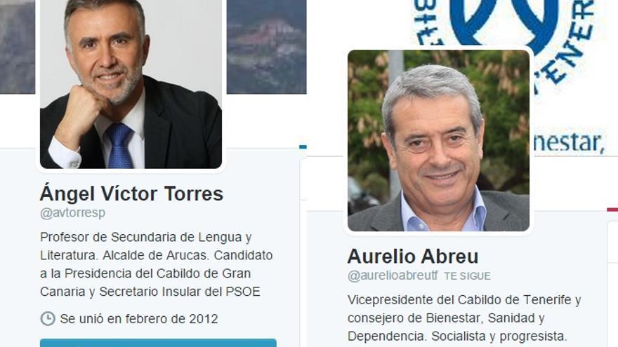 Pantallazos de Twitter de los candidatos Ángel Víctor Torres y Aurelio Abreu