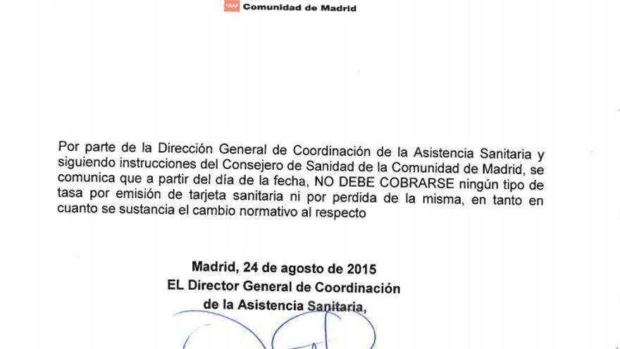 Circular que deroga la tasa de 10,20 euros para poder duplicar la tarjeta sanitaria en la Comunidad de Madrid