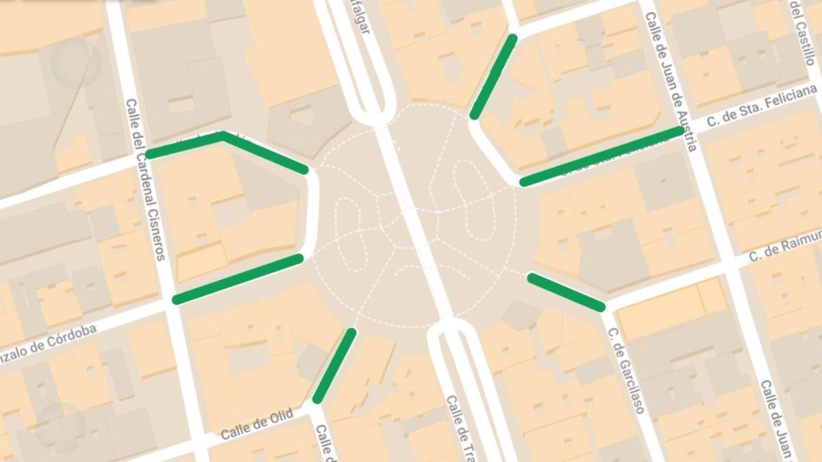 Mapa de los tramos de calle afectados por la peatonalización del entorno de Olavide
