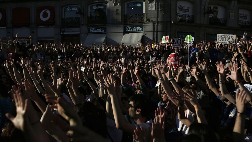 Grito mudo que ha cerrado la manifestación del 12M / Olmo Calvo