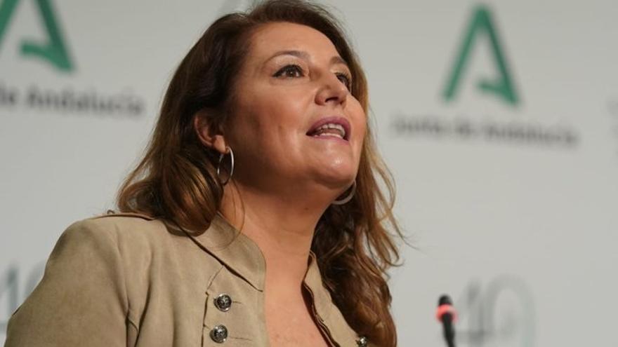 La consejera de Agricultura,Ganaderia, Pesca y Desarrollo Sostenible, Carmen Crespo, en la rueda de prensa posterior a la reunión del Consejo de Gobierno.