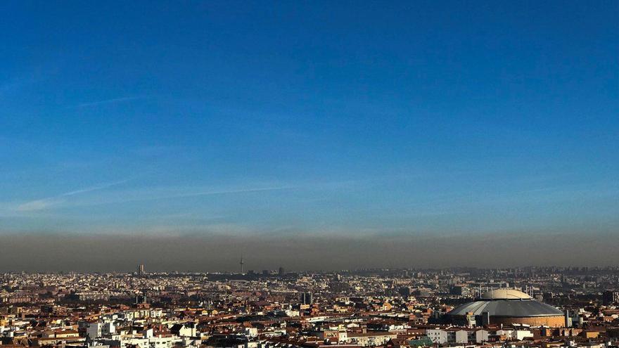 Imagen de la boina de contaminación sobre Madrid