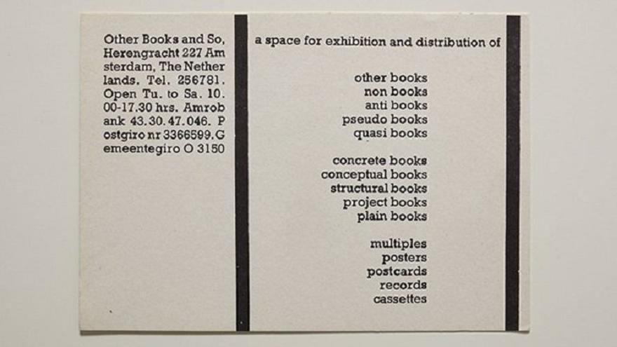 Ulises Carrión.  Tarjeta publicitaria de Other Book and So, s.f.