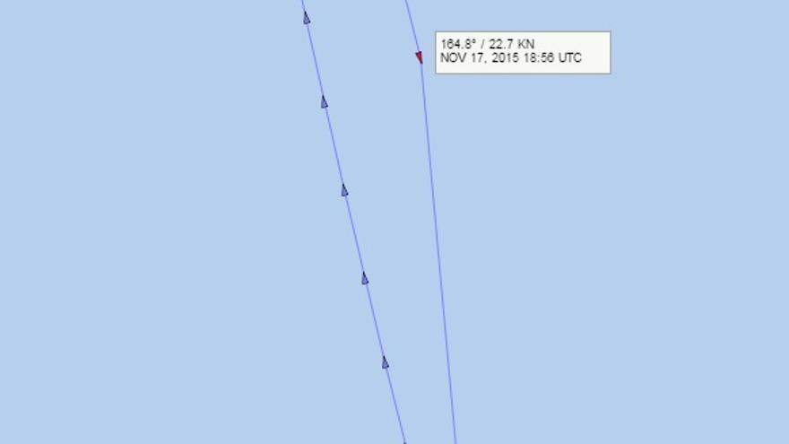 Coordenadas gps registradas por el Sistema de Identificación Automática (AIS) de la embarcación Guardamar Taía durante la operación de rescate.La última coordenada queda registrada a las 19:56 (aparece en la imagen en hora GMT).
