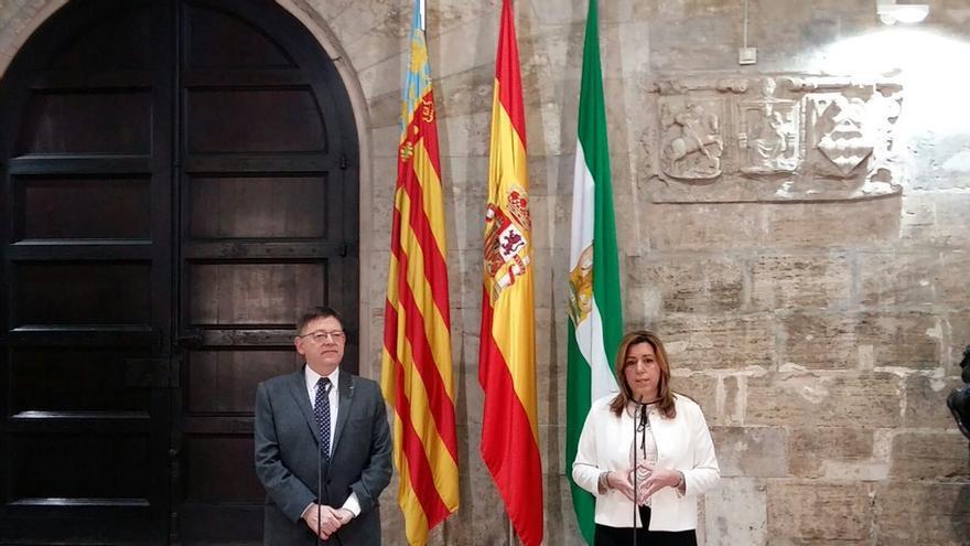 Ximo Puig y Susana Díaz, tras una reunión en el Palau de la Generalitat.