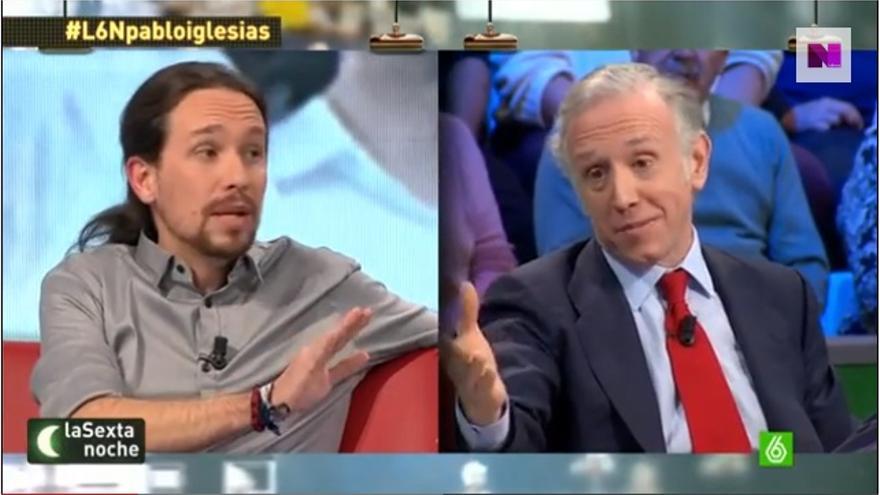 Pablo Iglesias y Eduardo Inda, en una tertuliaen La Sexta.