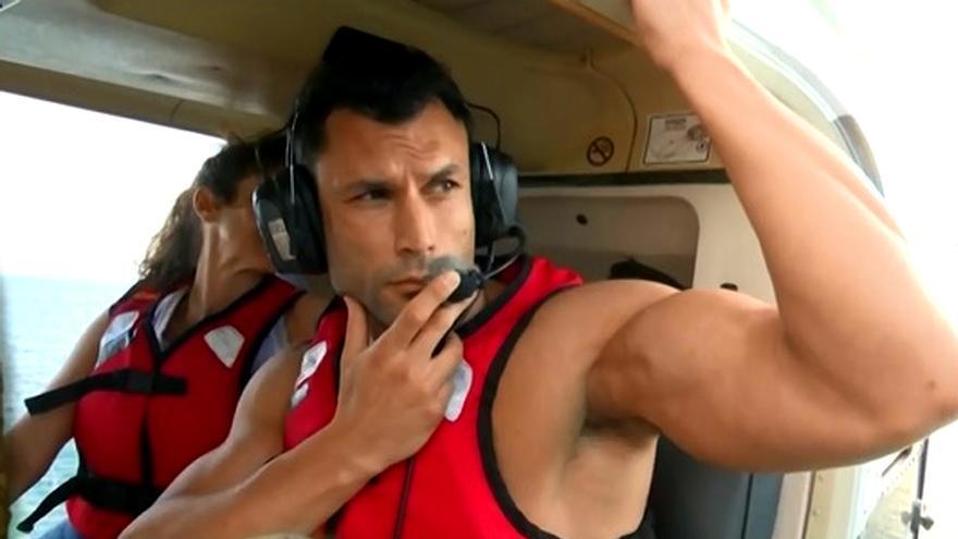 Jorge Pérez, al saltar desde el helicóptero de 'Supervivientes'
