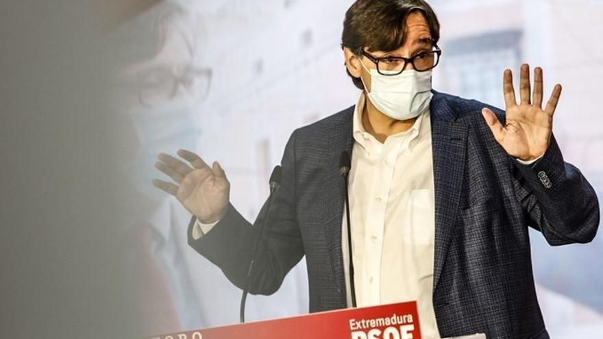 Salvador Illa, en su intervención en un acto del PSOE en Mérida.