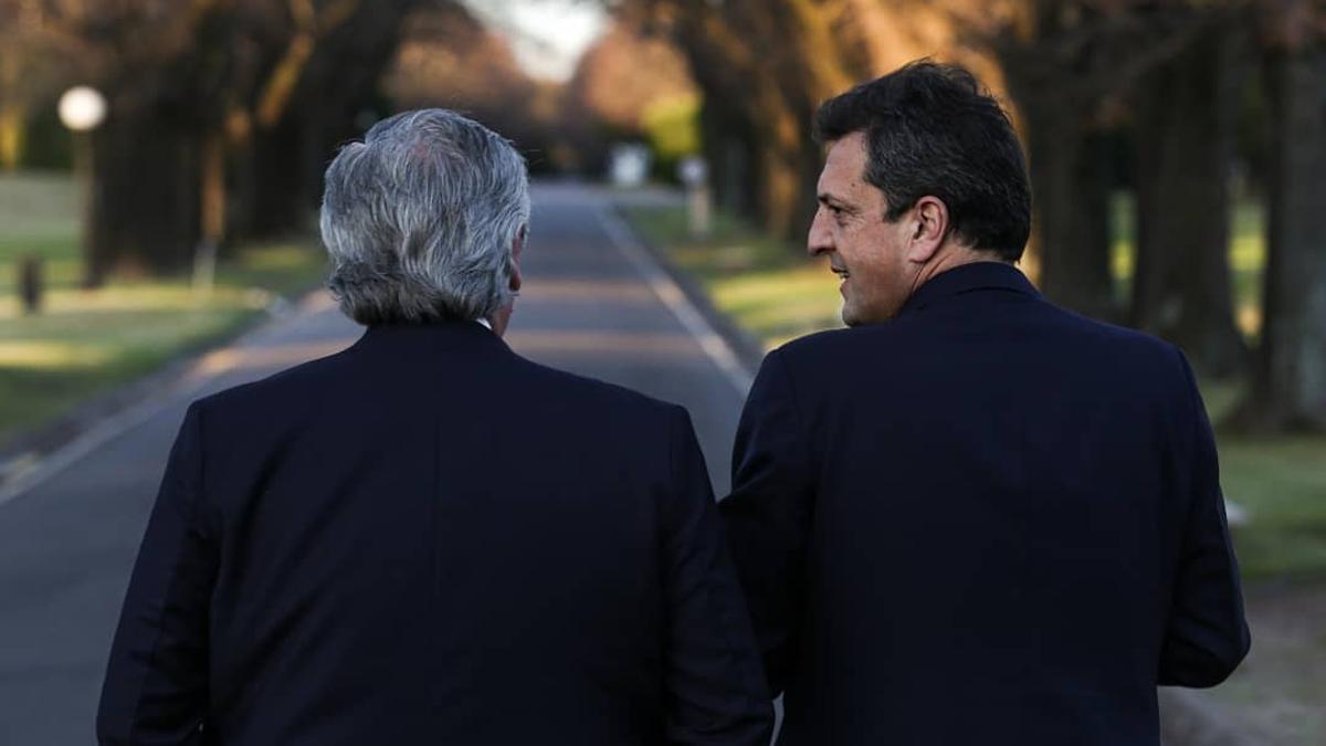 Alberto Fernández y Sergio Massa, en Olivos.