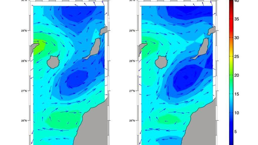 Mapa de las corrientes marinas en superficie entre Gran Canaria y Fuerteventura los días 19 y 20 de marzo. La zona de azul más intenso corresponde a la de remolinos ciclónicos.
