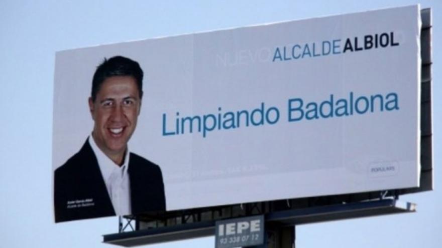 Cartel de Xavier Garcia Albiol (PP) para las elecciones municipales