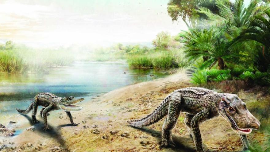 Recreación de los cocodrilomorfos de Tamajón