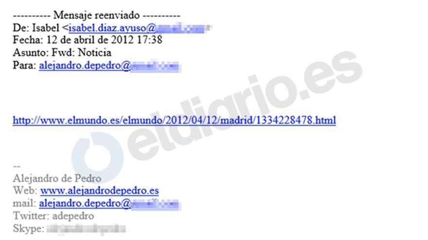 El mail de Isabel Díaz Ayuso a Alejandro de Pedro