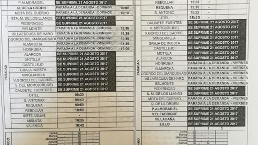 Supresión paradas de autobuses en Cuenca
