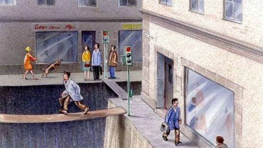 Retrato del poco espacio que les queda a las personas en las ciudades