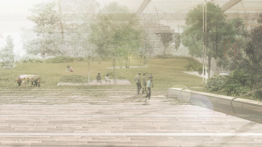 Link al verde, proyecto ganador en la plaza de Los Misterios (Ciudad Lineal)