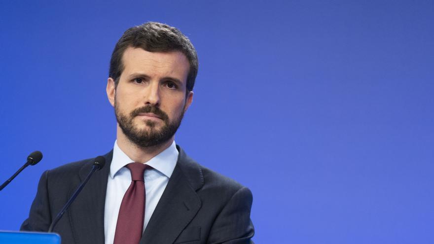 Pablo Casado, este lunes, durante la rueda de prensa ofrecida en la sede nacional del PP.
