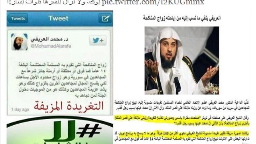 Twitter del Sheikh Muhammad Al-Arifi, donde desmiente la historia que circula sobre él