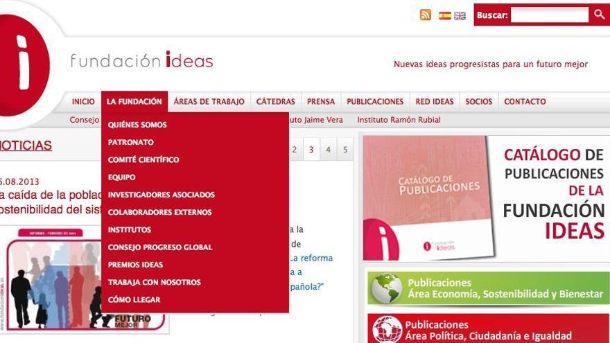 Pantallazo de la web de la Fundación Ideas