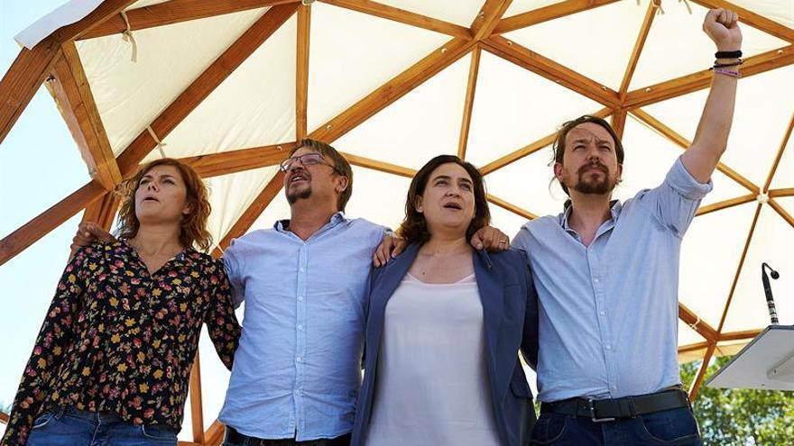 Pablo Iglesias, Ada Colau, Xavier Domènech y Elisenda Alamany, en un acto en la Diada de este año.